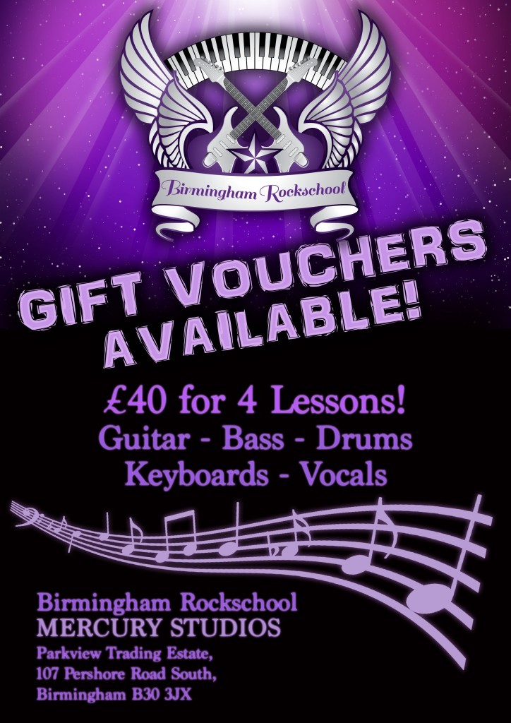 Music Lesson Birmingham Gift Vouchers Available