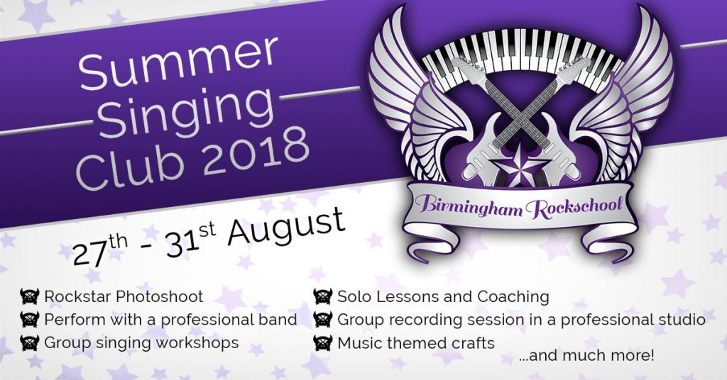 Birmingham Rockschool Singing Summer School 2018 Header