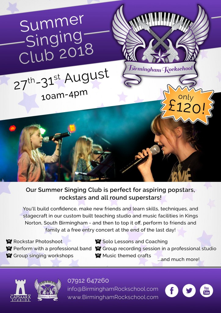Birmingham Rockschool Singing Summer club 2018 flyer
